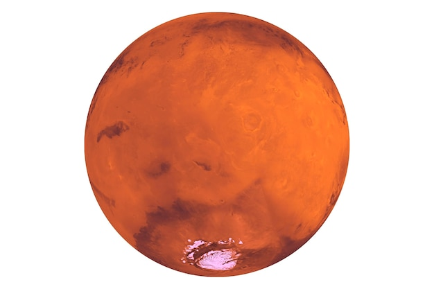 행성 화성 흰색 배경에 고립입니다. 이 이미지의 요소는 nasa에서 제공했습니다. 고품질 사진