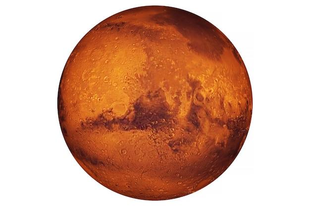 惑星火星は白い背景で隔離。