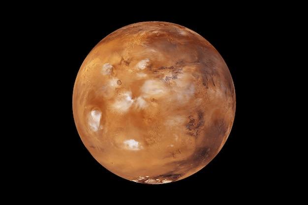 黒の背景に惑星火星。 nasaから提供されたこの画像の要素。高品質の写真