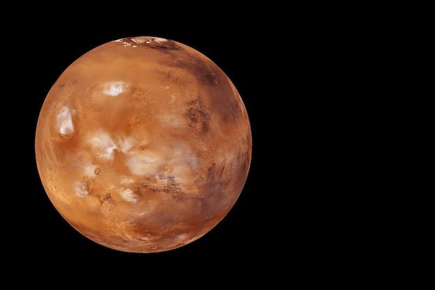 黒の背景に惑星火星。この画像の要素はnasaによって提供されました。高品質の写真