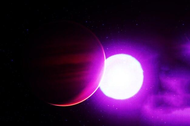 Планета возле звезды элементы этого изображения предоставлены наса. фото высокого качества