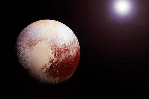 Planet pluto on a dark background, from space. elements of this image were furnished by nasa. high quality photo