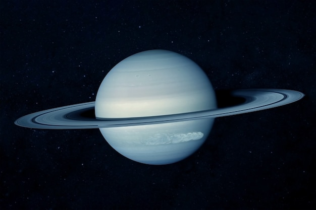 The planet saturn, in blue tones among the stars. elements of this image furnished by nasa for any purpose.