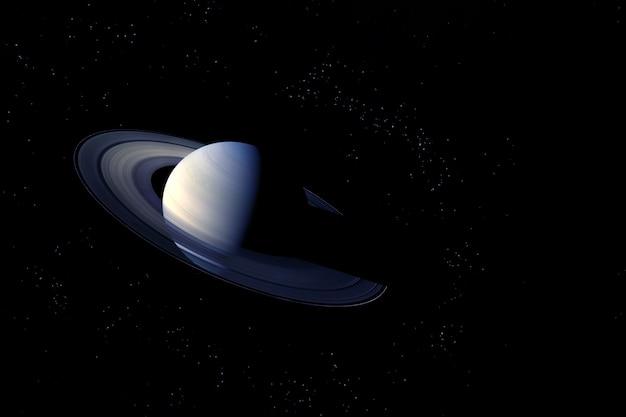 Планета сатурн на темном фоне. элементы этого изображения были предоставлены наса. для любых целей.