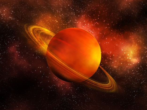 The planet saturn in space