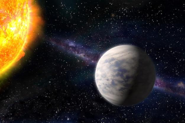 행성 금성과 태양. 우주 별과 행성. 점성학. 이 이미지의 요소는 nasa에서 제공한 것입니다. 삽화