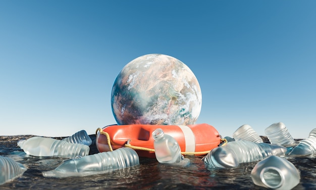 플라스틱 병으로 둘러싸인 바다에 구명 부표가 있는 행성