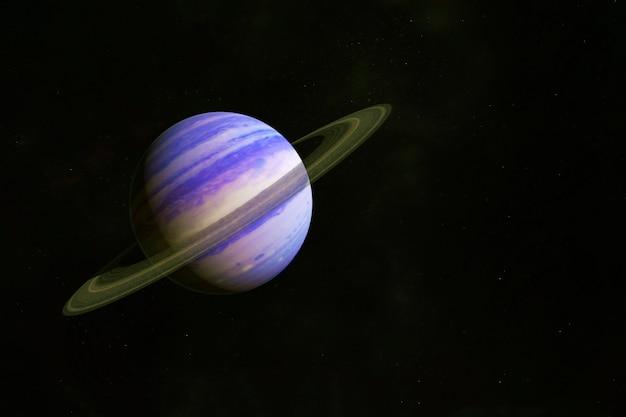 Планета с кольцами, на темном фоне. элементы этого изображения были предоставлены наса. фото высокого качества