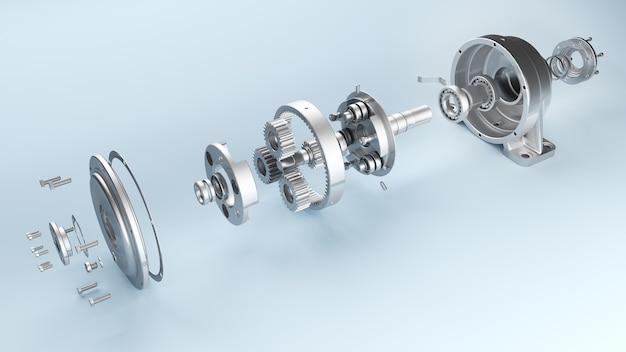 Planetary gearbox in disassembled form bearings shafts and gears 3d illustration of details