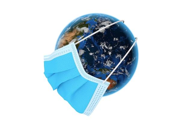 흰색 바탕에 코로나바이러스 covid-19 예방을 위한 의료 보호 마스크의 planete earth world globe. nasa에서 제공한 이 이미지의 요소입니다. 3d 렌더링