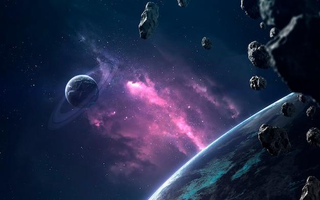 Планеты и облака звездной пыли. изображение глубокого космоса, фантастическая фантастика в высоком разрешении идеально подходит для обоев и печати. элементы этого изображения, предоставленные наса