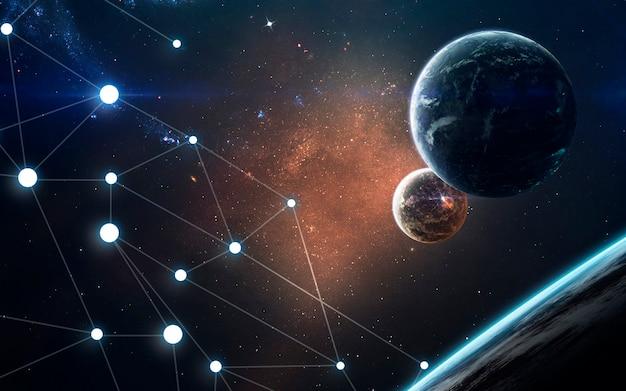 Планеты, светящиеся звезды и астероиды. изображение глубокого космоса, фантастическая фантастика в высоком разрешении идеально подходит для обоев и печати. элементы этого изображения, предоставленные наса