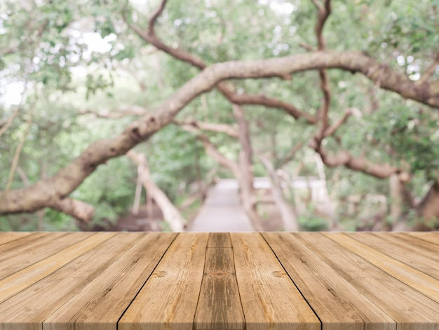Planks with blurred trees