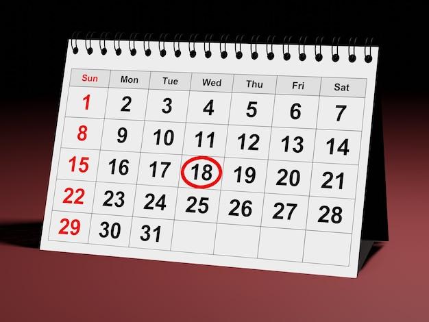 Календарь на месяц планировщика с проверенной датой планирования