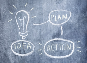 Planning idea with light bulb drawn with chalk on chalkboard