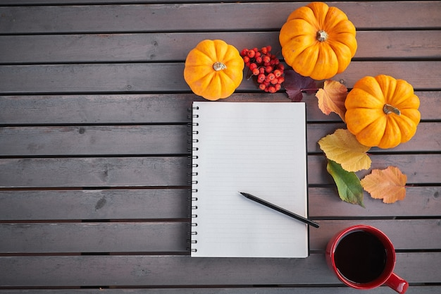 カボチャのナナカマドと葉のある木製のテーブルに秋の気分の構成をリストすることを計画しています。赤いカップと灰色の木製のテーブルでメモ帳とコーヒーを開きます