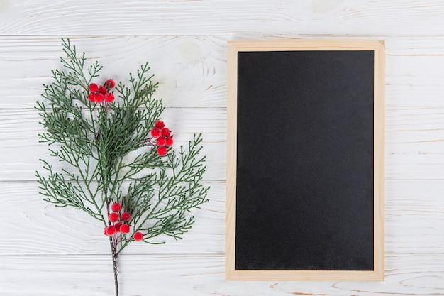 Plant branch with berries near blank chalkboard