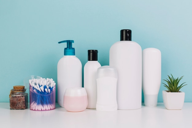Plant and cotton swabs near cosmetics bottles