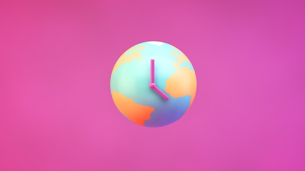 Plant earth with clock hands on a pink background