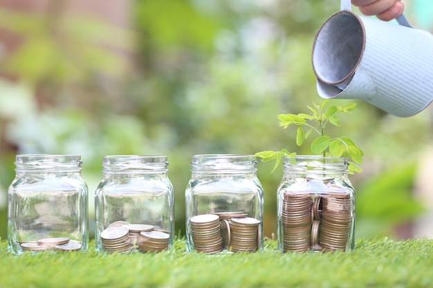 Plant growing on stack of coins money and glass bottle on natural green space