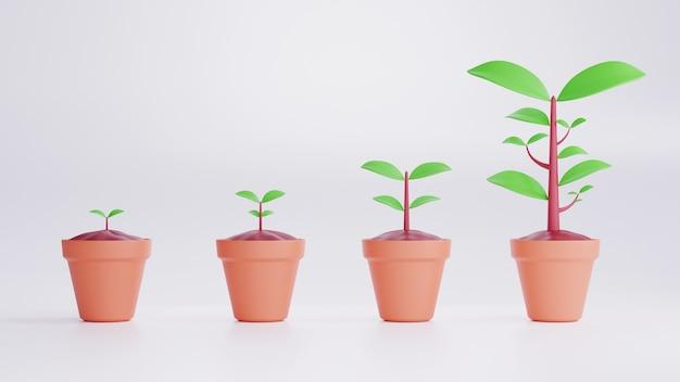 Этапы выращивания растений 3d визуализации хронология процесса посадки дерева, изолированные на белом фоне