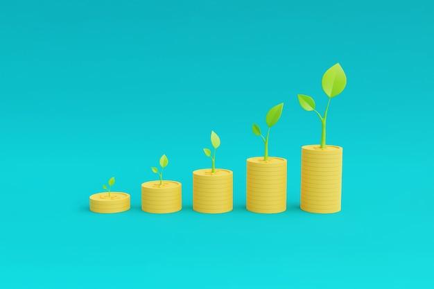 돈, 자산 성장 개념으로 성장하는 식물