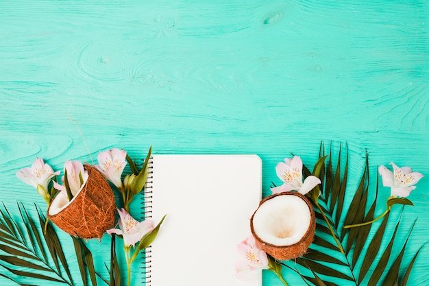 Plant leaves near coconuts with blooms and notebook