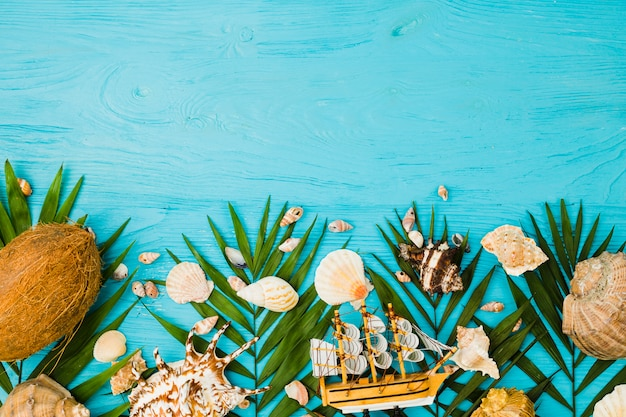 Plant leaves near fresh coconuts and seashells with toy ship