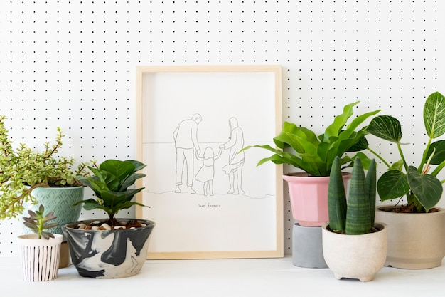 Plant lover home decor with picture frame