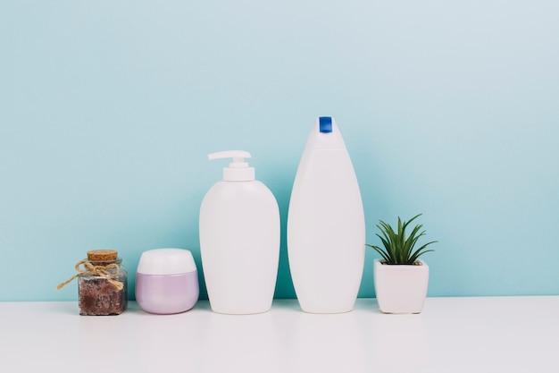 Plant near cosmetics bottles and jar