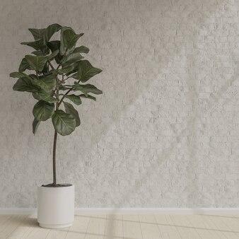 朝の陽光と白いレンガの壁のミニマリストスタイルに植えます。