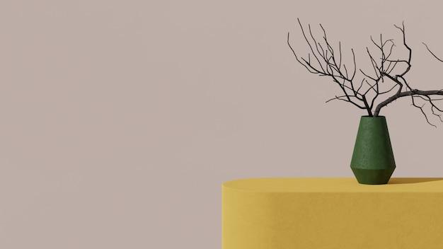 베이지 색 벽에 노란색 테이블 위에 공장, 3d 렌더링