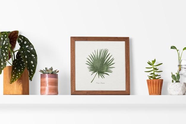 Полка для растений с рамкой идеи домашнего декора