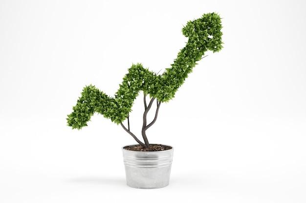 矢のように育つ植物。 3dレンダリング。経済企業の概念の成長