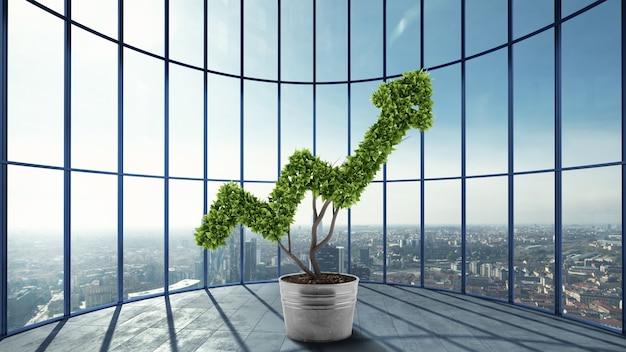 高層ビルのオフィスで矢のように育つ植物。 3dレンダリング。経済企業の成長