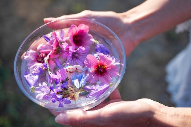 植物のチンキ剤と花