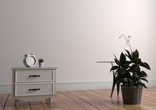 Plant and vase on table in wood floor on empty white wall background. 3d rendering