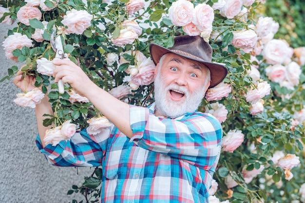 Посадка цветов ретро рекламный портрет дедушки во время работы в цветочном саду я люблю наши моменты в деревне вспомнить время