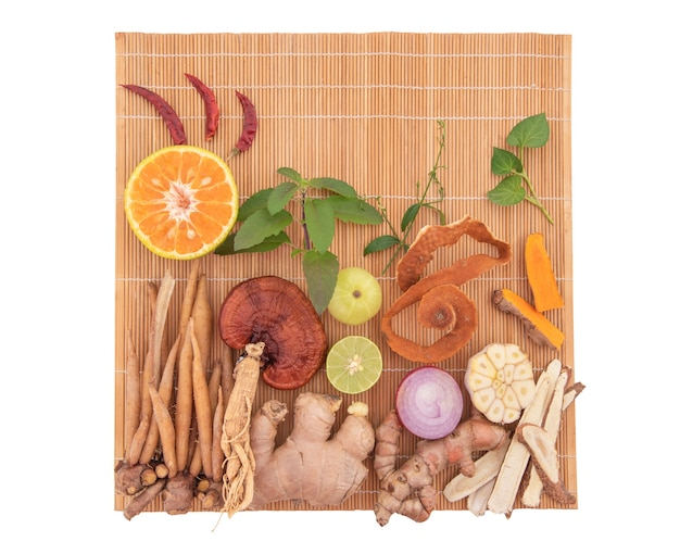 Plants, fruits, vegetables and herbs antiviral and immunity such as ginger, turmeric and more isolated.