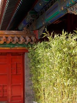 Растения перед зданием, имперский сад, запретный город, пекин, китай