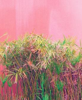 ピンクのコンセプトの植物。ピンクの背景の壁にトロピカルグリーン。