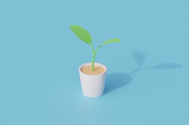 냄비 단일 고립 된 개체에 식물입니다. 3d 렌더링