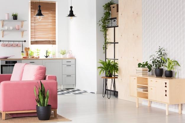 簡易キッチンの横にピンクのソファと白い平らなインテリアの木製の食器棚に植物。本物の写真