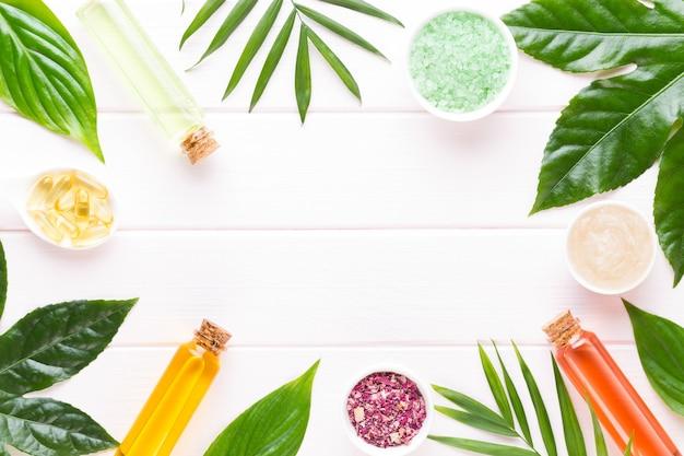 植物、海塩、手作り化粧品