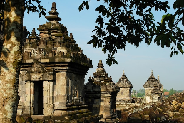 Plaosan temple with blue sky background a hindhu temple central java indonesia