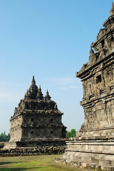 Plaosan temple with blue sky background a hindhu temple central java indonesia Premium Photo