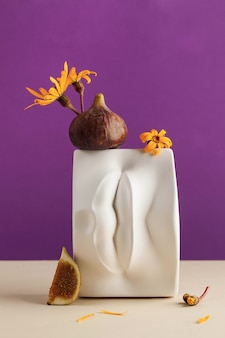 Plaster figure of lips with fresh figs and flowers on it. art concept, erotic food.