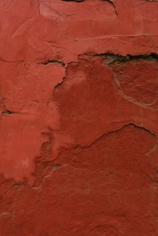 Plaster on the wall, painted in terracotta color. design background or copy space