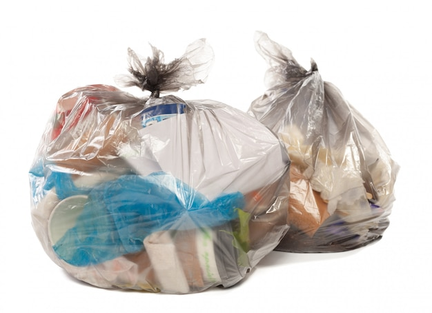 Plastic bag full of rubbish on isolated white