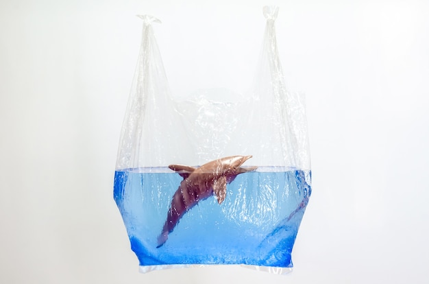 白い背景の水面にぼやけたイルカのおもちゃのモデルを保持するビニール袋